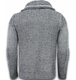 Black Number Knitted Men's Pullover - Double Scarf Collar Zipper - Grey
