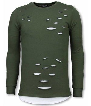 Uniplay Longfit Sweater - Damaged Look Shirt - Green