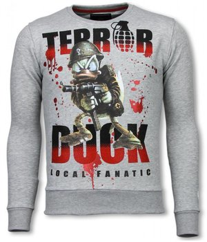 Local Fanatic Terror Duck - Rhinestone Sweater - Grey