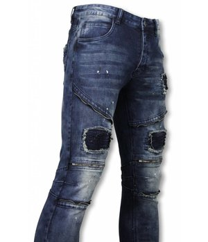Urban Rags Exclusive Biker Jeans - Slim Fit Zipped Biker Jeans With Paint Drops - Blue