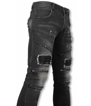 Urban Rags Exclusive Biker Jeans - Slim Fit Zipped Biker Jeans With Paint Drops - Anthracite