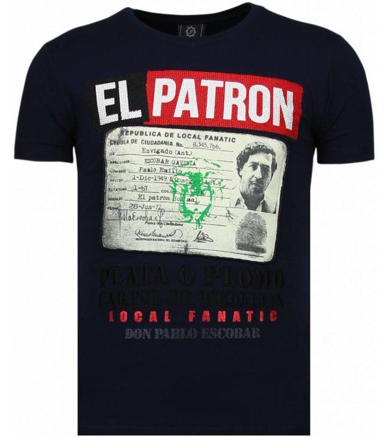 Local Fanatic El Patron Narcos Billionaire - Rhinestone T-shirt - Blue