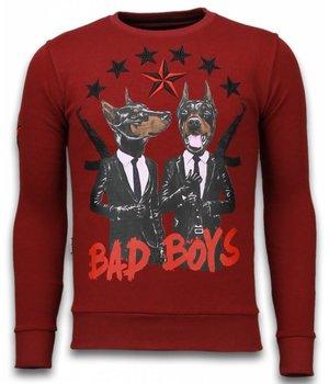 Local Fanatic Bad Boys - Rhinestone Sweater - Burgundy