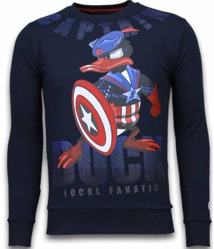 Local Fanatic Captain Duck - Rhinestone Sweater - Navy