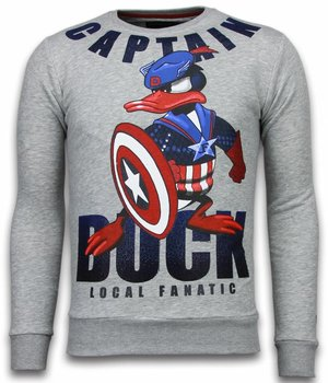 Local Fanatic Captain Duck - Rhinestone Sweater - Grey