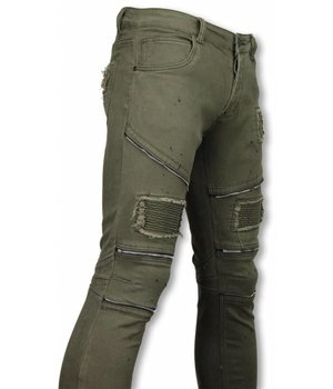 Urban Rags Exclusive Biker Jeans - Slim Fit Zipped Biker Jeans With Paint Drops - Green