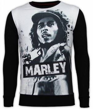 Local Fanatic Bob Marley - Digital Rhinestone Sweater - Black