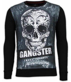 Local Fanatic Gangster Skull - Digital Rhinestone Sweater - Black