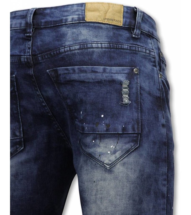 Urban Rags Exclusive Biker Jeans - Slim Fit Damaged Knee With Paint Drops - Blue