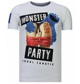 Local Fanatic Monster Party - Rhinestone T-shirt - White
