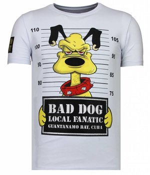 Local Fanatic Bad Dog - Rhinestone T-shirt - White