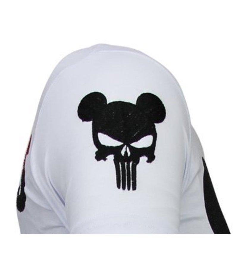 Local Fanatic Punisher Mickey - Rhinestone T-shirt - White