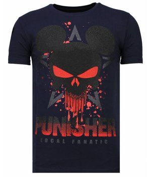 Local Fanatic Punisher Mickey - Rhinestone T-shirt - Navy