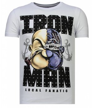 Local Fanatic Iron Man Popeye - Rhinestone T-shirt - White