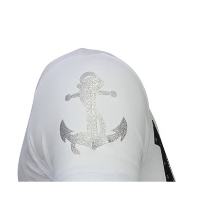 Local Fanatic Iron Man Popeye - Rhinestone T-shirt - White
