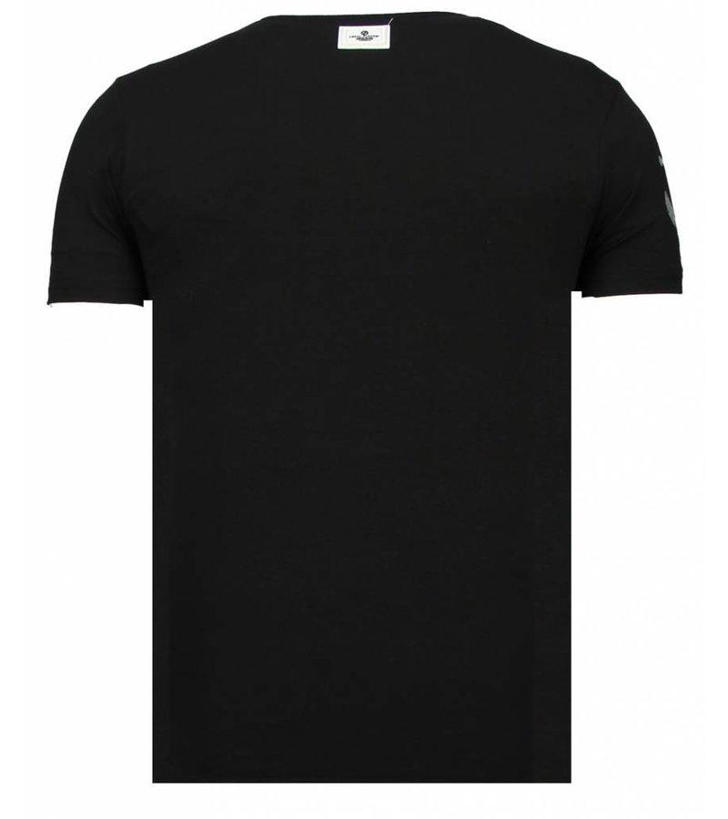 Local Fanatic Iron Man Popeye - Rhinestone T-shirt - Black
