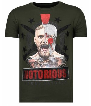 Local Fanatic Notorious Warrior - Rhinestone T-shirt - Khaki