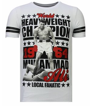 Local Fanatic Greatest Of All Time - Rhinestone T-shirt - White