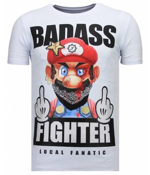 Local Fanatic Fight Club Mario - Rhinestone T-shirt - White
