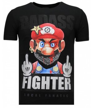 Local Fanatic Fight Club Mario - Rhinestone T-shirt - Black