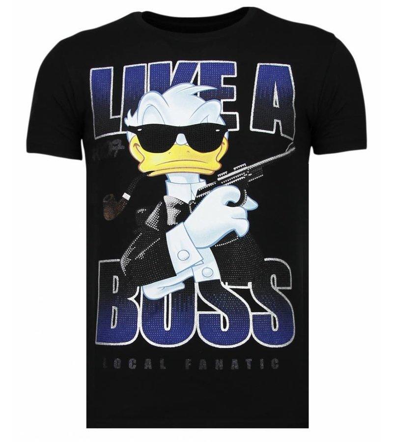 Local Fanatic Like A Boss - Rhinestone T-shirt - Black