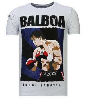 Local Fanatic Balboa - Rhinestone T-shirt - White