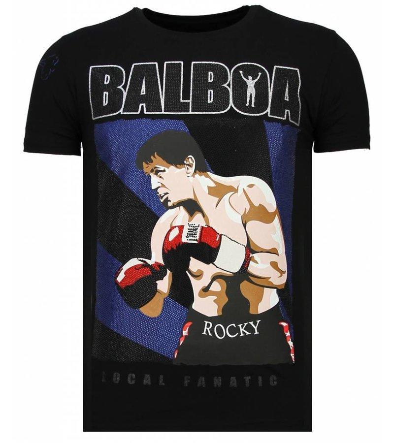 Local Fanatic Balboa - Rhinestone T-shirt - Black