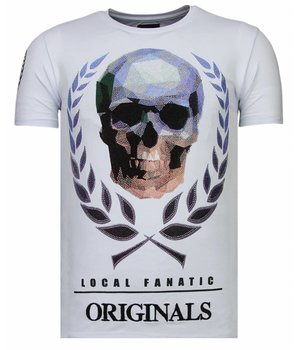 Local Fanatic Skull Originals - Rhinestone T-shirt - White