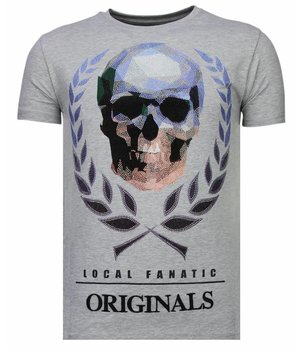 Local Fanatic Skull Originals - Rhinestone T-shirt - Grey