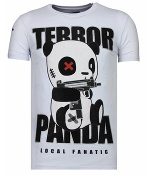 Local Fanatic Terror Panda - Rhinestone T-shirt - White
