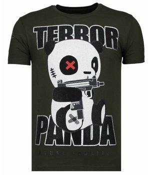 Local Fanatic Terror Panda - Rhinestone T-shirt - Khaki