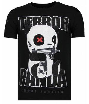 Local Fanatic Terror Panda - Rhinestone T-shirt - Black