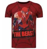 Local Fanatic The Beast Spider - Rhinestone T-shirt - Bordeaux