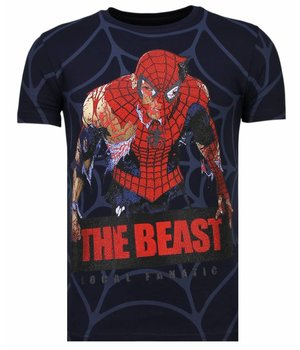 Local Fanatic The Beast Spider - Rhinestone T-shirt - Navy
