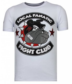 Local Fanatic Fight Club Spike - Rhinestone T-shirt - White