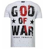 Local Fanatic God Of War - Rhinestone T-shirt - White