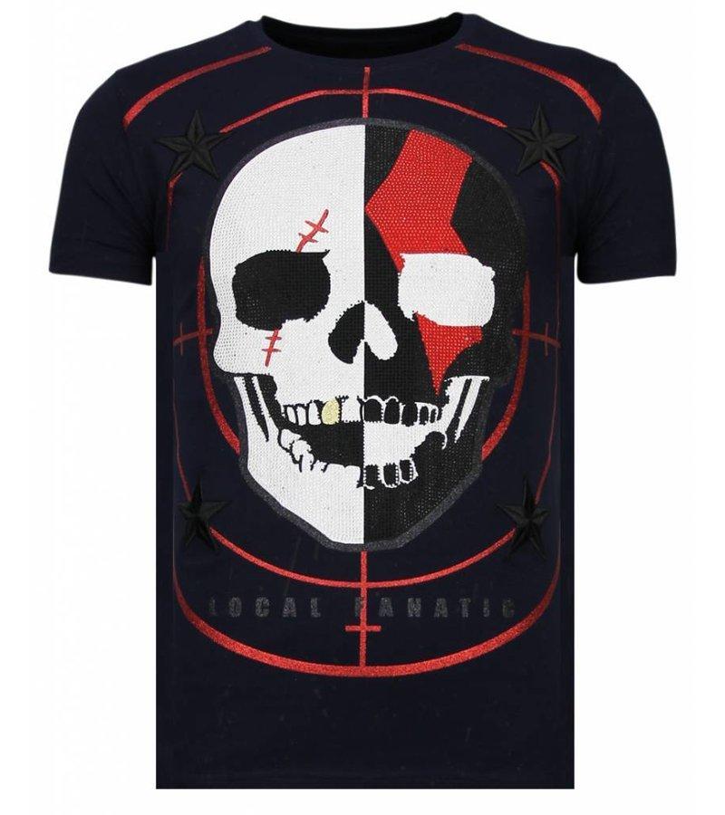 Local Fanatic God Of War - Rhinestone T-shirt - Navy