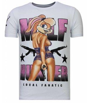 Local Fanatic Milf Hunter - Rhinestone T-shirt - White