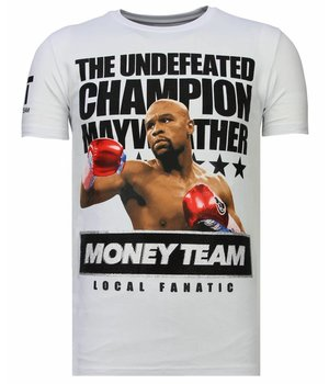 Local Fanatic Money Team Champ - Rhinestone T-shirt - White