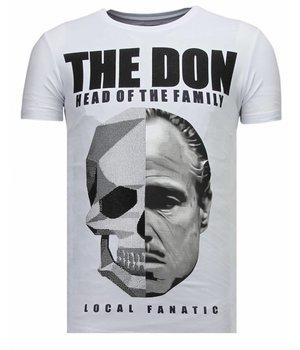 Local Fanatic The Don Skull - Rhinestone T-shirt - White