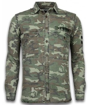 Bread & Buttons Denim Shirt - Slim Fit Camouflage Pattern - Green