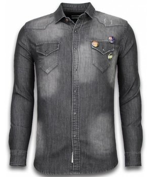 Bread & Buttons Denim Shirt - Slim Fit 3 Buttons - Grey