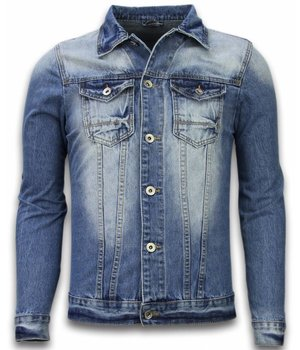 Bruno Leoni Denim Jacket - Stonewashed Look Denim Jacket - Blue