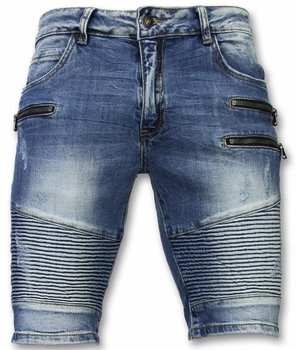 Enos Men Shorts -  Slim Fit Biker Zippers Shorts - Blue