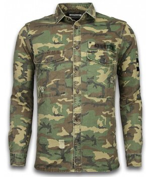 Bread & Buttons Exclusive Shirt - Slim Fit Long Sleeve - Camouflage Pattern - Green / Brown
