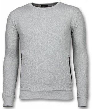 Enos Casual Crewneck - Buttons Sweater - Grey