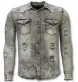 Diele & Co Denim Shirt - Slim Fit Damaged Allover - Grey