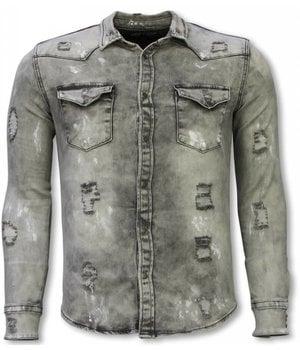 Diele & Co Denim Shirt - Slim Fit Damaged Allover - Grey
