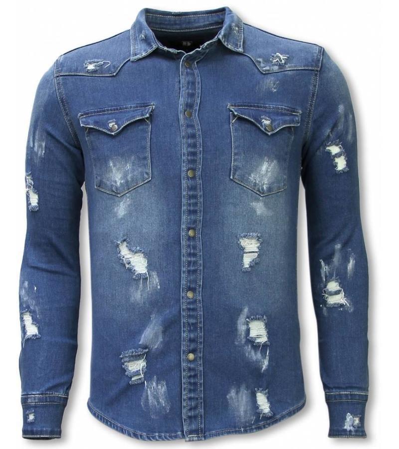 Diele & Co Denim Shirt - Slim Fit Damaged Allover - Blue