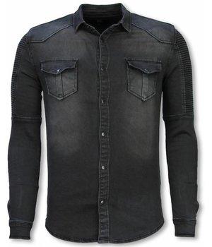 Diele & Co Biker Denim Shirt - Slim Fit Ribbel Stonewashed - Grey